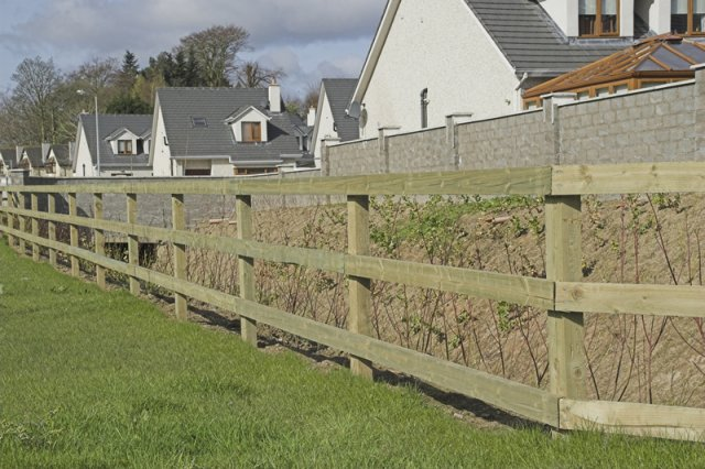 3 Bar Post & Rail on Timber Posts Glenealy