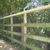 4 Bar Post & Rail Fence with Chain Link and with BWire on Galvanized Off Set Angle Iron